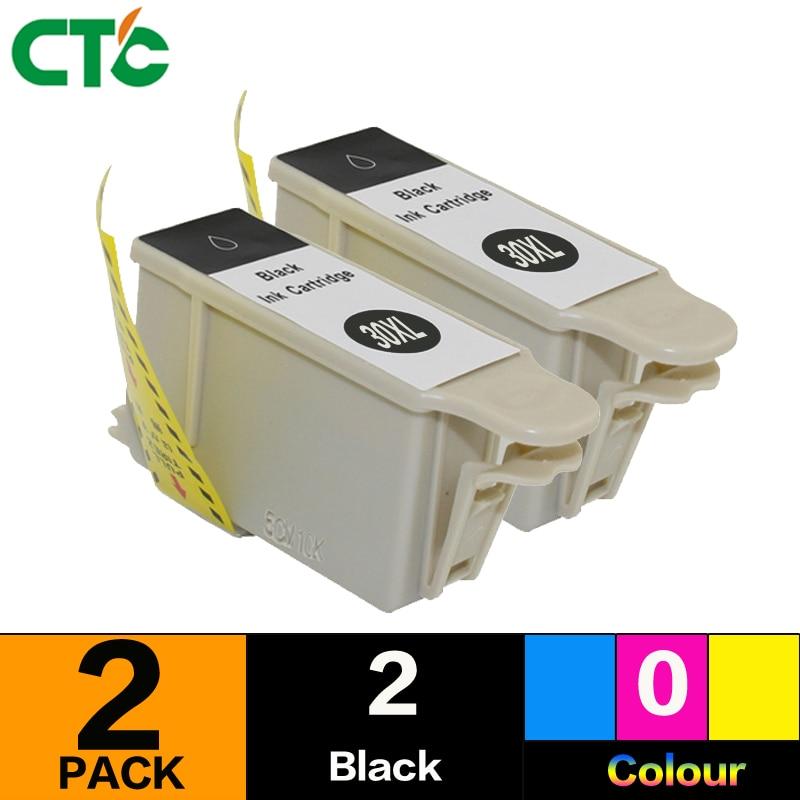 2black Ink Cartridge Compatible for Kodak 30 30XL Hero 1.2/3.1/3.2/3.2s/2.2/4.2/5.1 ALL-in-One Printe Series C100 C300