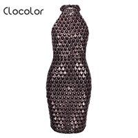 Clocolor Women S Bodycon Dress Burgundy Patchwork Sequins Color Block Stand Collar 2018 Modern Fashion Women