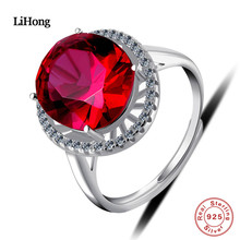 LiHong Perhiasan 925 Sterling Silver Ring Mendominasi AAA Zircon Red Kristal Cincin Engagement Wedding Ring Charm Wanita Perhiasan
