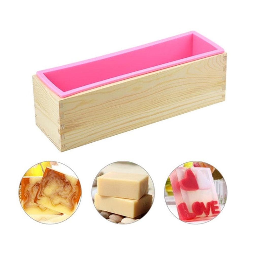TPFOCUS 42 Ounce Rectangular Soap Silicone Loaf Mold Wood Box Set For Soap Candle Making