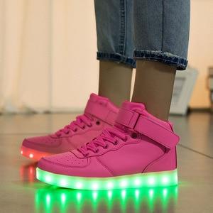 Image 5 - Size 25 37 Light Shoes Kids for Girls Boys Led Shoes Luminous Sneakers Light Up Children Tenis Led Slippers USB Recharging