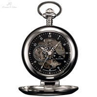 KS Luxury Black Skeleton Self stand Case Analog Hand Wind Mechanical Relogio Fob Pendant Chain Steampunk Men Pocket Watch/KSP063