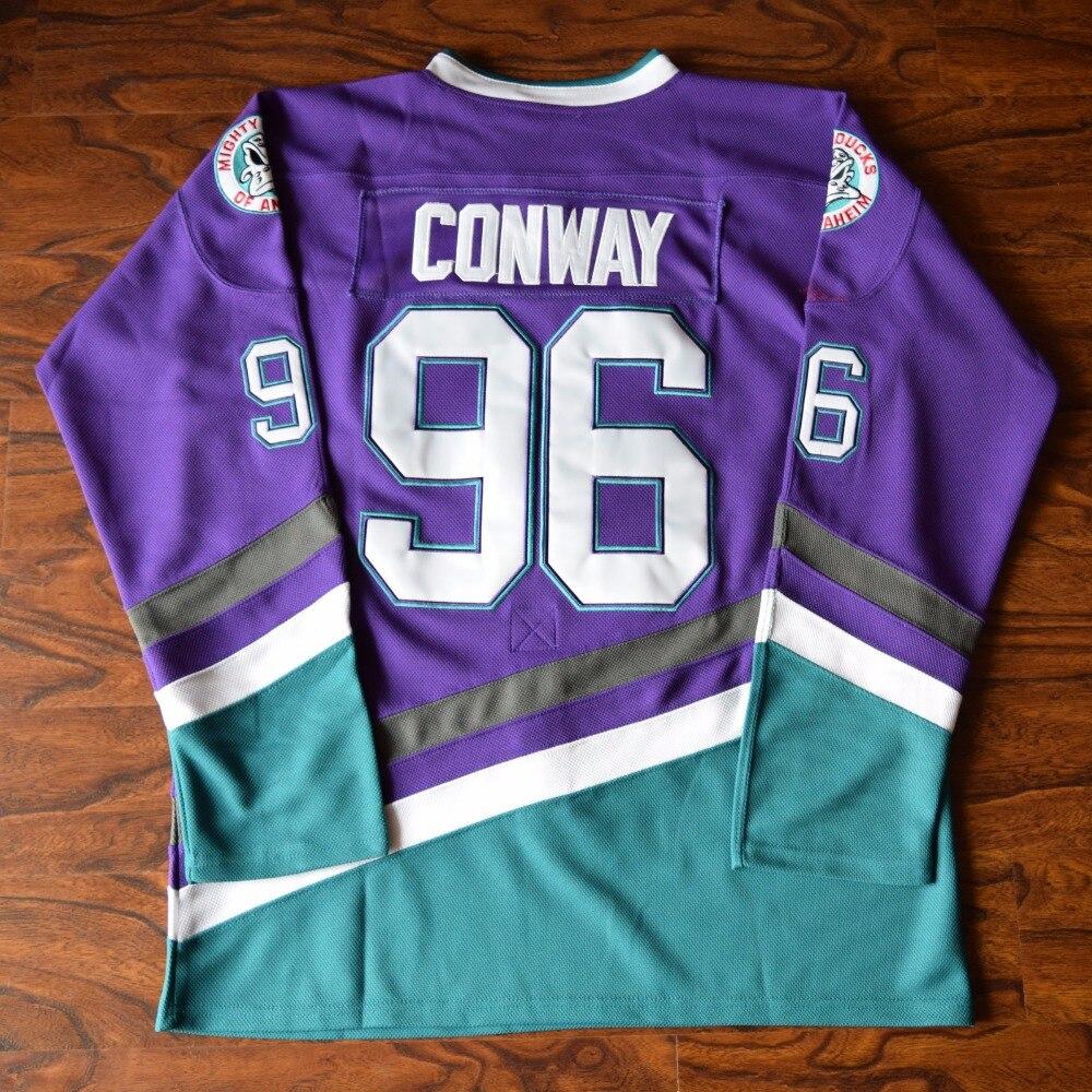 MM MASMIG Charlie Conway #96 Mighty Ducks Ice Hockey Jersey Stitched Purple