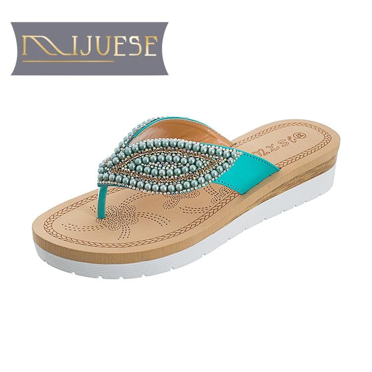 MLJUESE 2018 mujeres zapatillas de verano de color azul de cristal - Zapatos de mujer