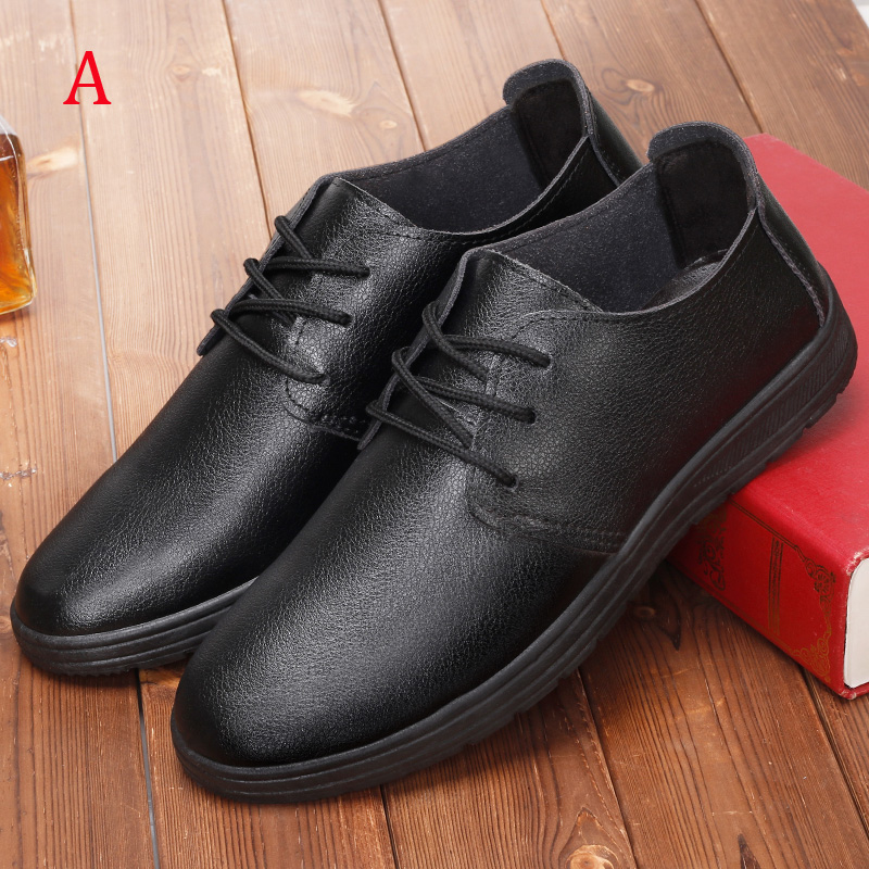 Male leather dress shoes lacing round toe casual shoes summer male commercial breathable black soft outsole