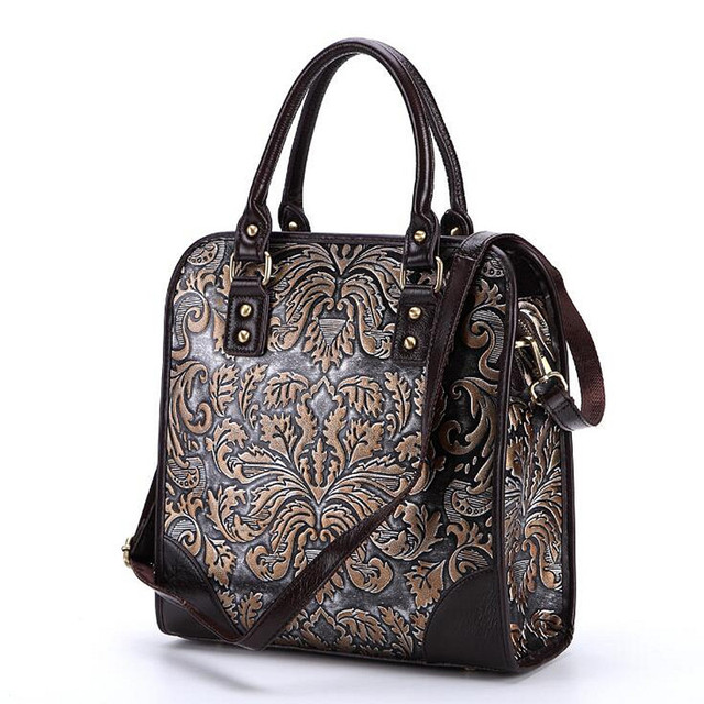 High Quality Women Natural Skin Messenger Shoulder Bag Embossed Flower  Cross Body Tote Luxury Female Genuine 624c85e49d