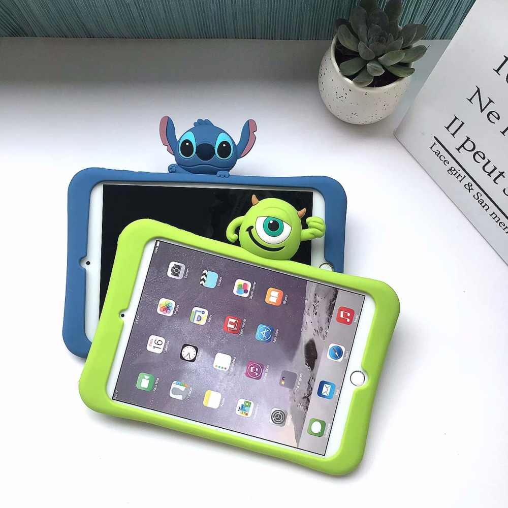 For ipad 7 th 10.2 Retina Silica gel case Cartoon kids safe Case For Apple Ipad 10.2 inch 2019 tablet stand silicone cover + Pen