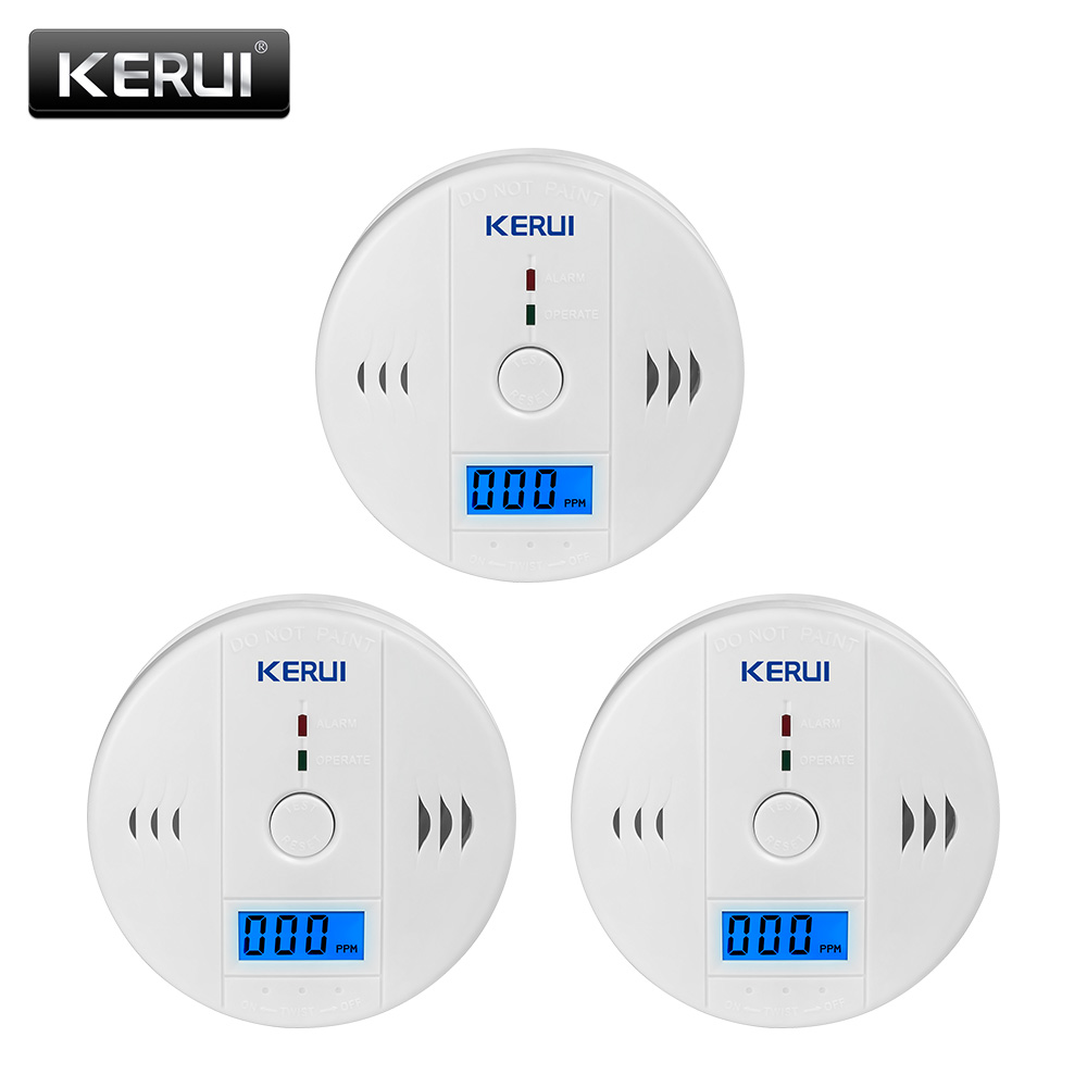 KERUI  3PC Carbon Monoxide Detectors LCD Photoelectric Independent Poisoning Warning Alarm CO Gas Sensor Detectors