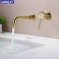 New 210MM Solid Brass Wall Mounted Basin Faucet Bathroom Mixer Tap Hot and Cold Faucet 360 degree rotation Spout