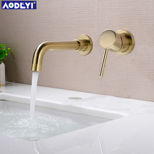 New 210MM Solid Brass Wall Mounted Basin Faucet Bathroom Mixer Tap Hot and Cold Faucet 360 degree rotation Spout(China)