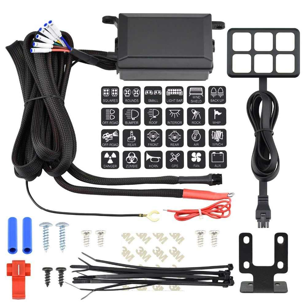 medium resolution of  universal 6 gang switch panel 12v relay system control box waterproof fuse relay wiring harness kit
