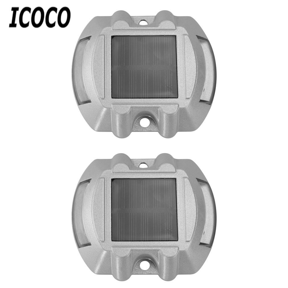 ICOCO 6 LED 2pcs Solar Road stud Outdoor Wireless Lamps waterproof Driveway aluminum spike traffic signal Warning Street lights