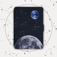 Kandouren-Caso Paperwhite Kindle, Iluminado Delgado Cubierta de Cuero Paperwhite1 2 3 2015 ª generación de Kindle, estrella luna de la tierra