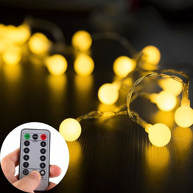 Globe String Lights 5m 50leds With Remote Control Battery Operated