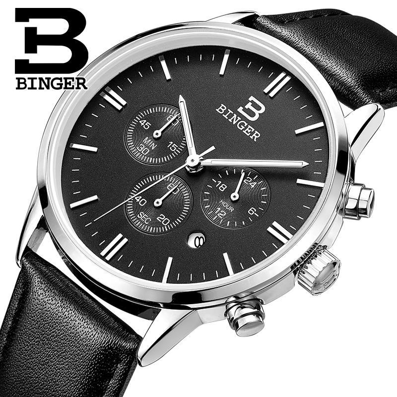 ФОТО BINGER watches men luxury brand Quartz watch waterproof genuine leather strap gold Chronograph Wristwatches BG9201-7