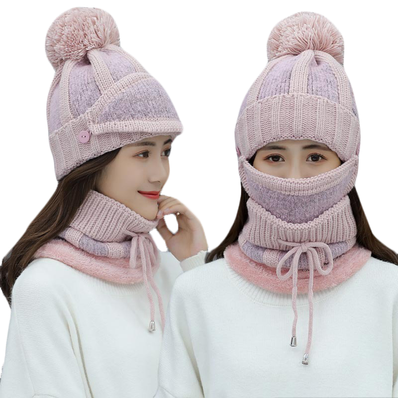 High Quality Wool Plus Velvet Knitted Cap Collar Winter Pompom Hat Scarf Sets For Women Girls Warm Knitted Scarf Masks Hat 3pcs