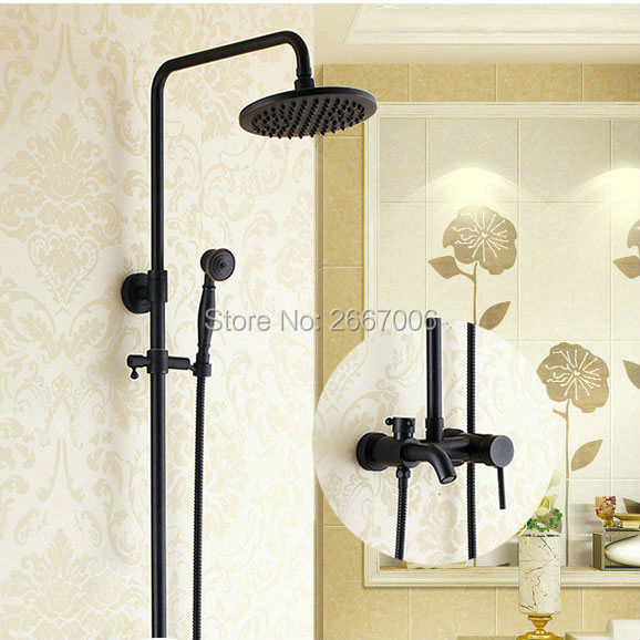 Free Shipping Hotel Bathroom Shower Set Wall Mounted Copper Bath Faucet Rain Black Bronze Finish