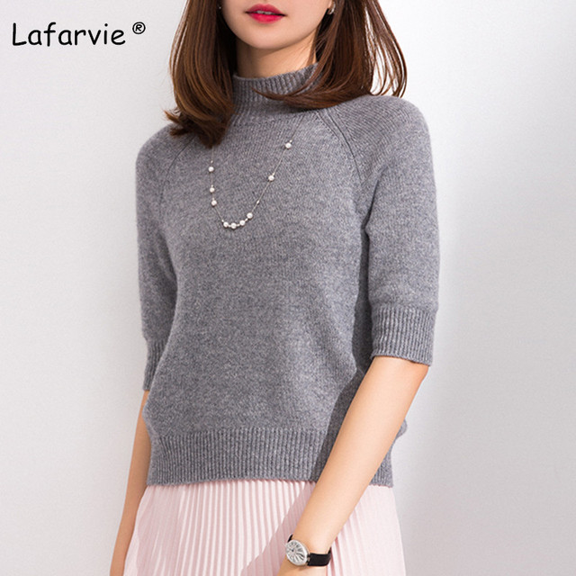 d8c0ec5a7a Lafarvie New Slim Knitted Sweater Women Pullover Half-sleeved Turtleneck  Solid Color Cashmere Sweater Knitting Bottoming Shirt