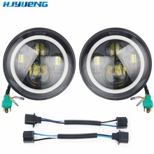 For lada niva 4x4 7inch LED H4 headlights lamp with DRL halo ring Amber turn signal lighting Headlamp For Suzuki Samurai