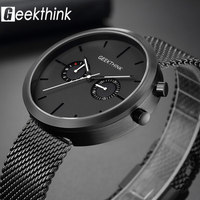 GEEKTHINK Luxury Top Brand Quartz Watches Men's Full stainless steel Black Wrist Watch Casual Relogio Masculino Modern Homme New
