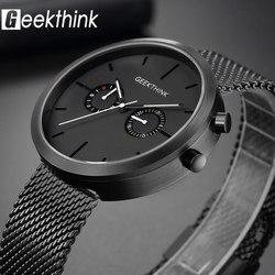 GEEKTHINK luksusowe Top marka zegarek kwarcowy zegarki męskie pełny ze stali nierdzewnej czarny zegarek na rękę Casual Relogio Masculino nowoczesne Homme nowy|homme|homme luxury  -