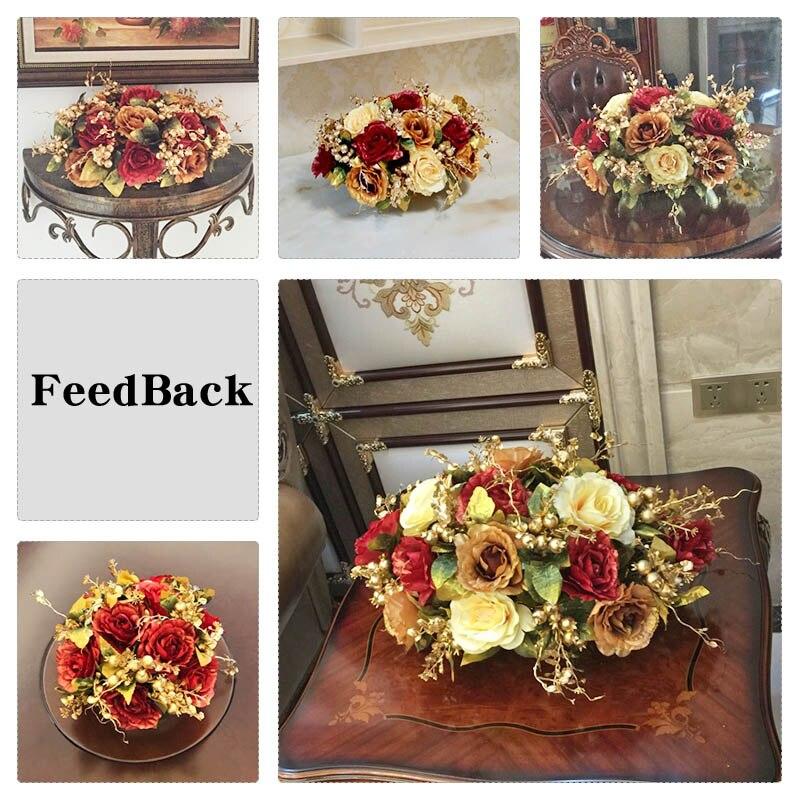 Королевский золотой бисер набор Модный с искусственными цветами набор гостиной обеденный стол украшение для дома цветок - 5