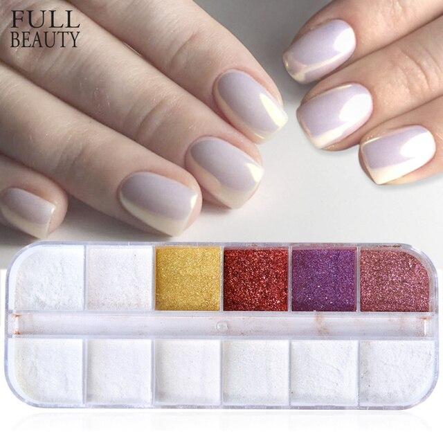 Espejo de belleza completo arte de uñas pigmento cromado polvo de brillo mágico DIY oro plata manicura conjunto de polvo de esmalte de uñas CHMI