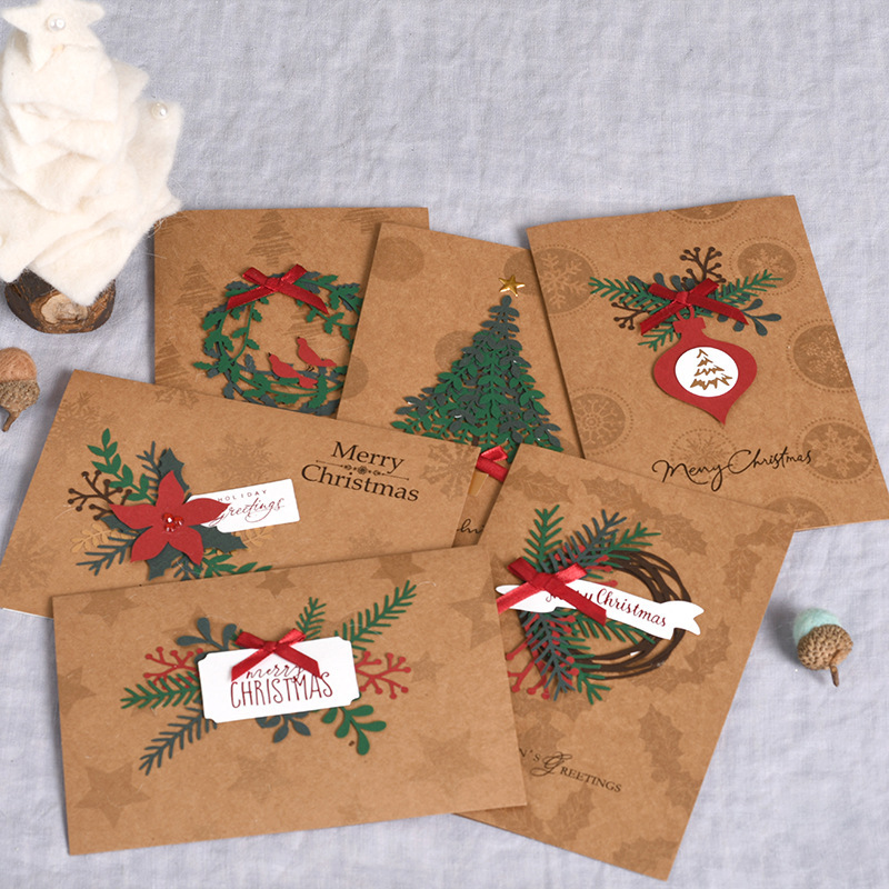 6pcs/lot Vintage 3D Kraft paper Christmas Cards Business Greeing Cards birthday New Year message card gift cards escolar 3d qubiclife santa and house stereo card christmas cards