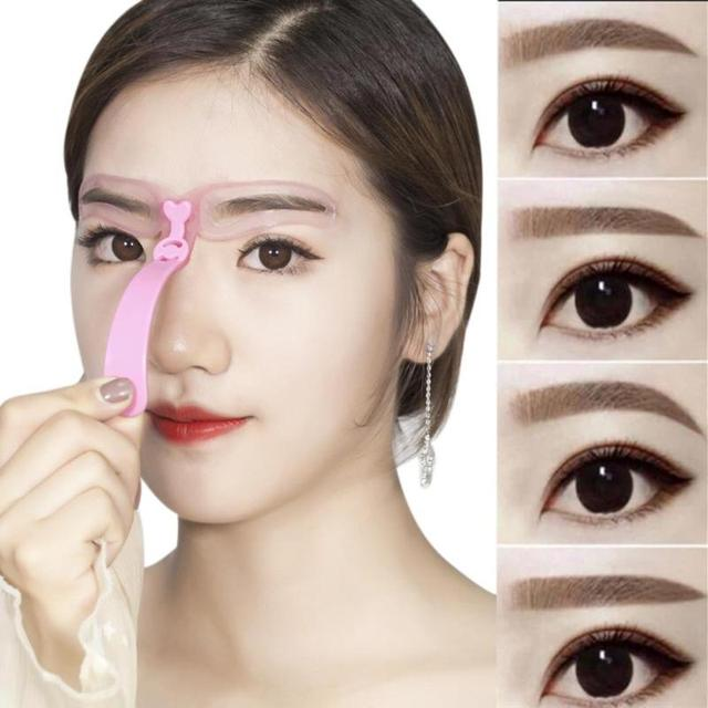 4pcs Eyebrow Stencils Shaping Grooming Eye Brow Makeup Model Template Reusable Design Eyebrows Styling Tool with Handle