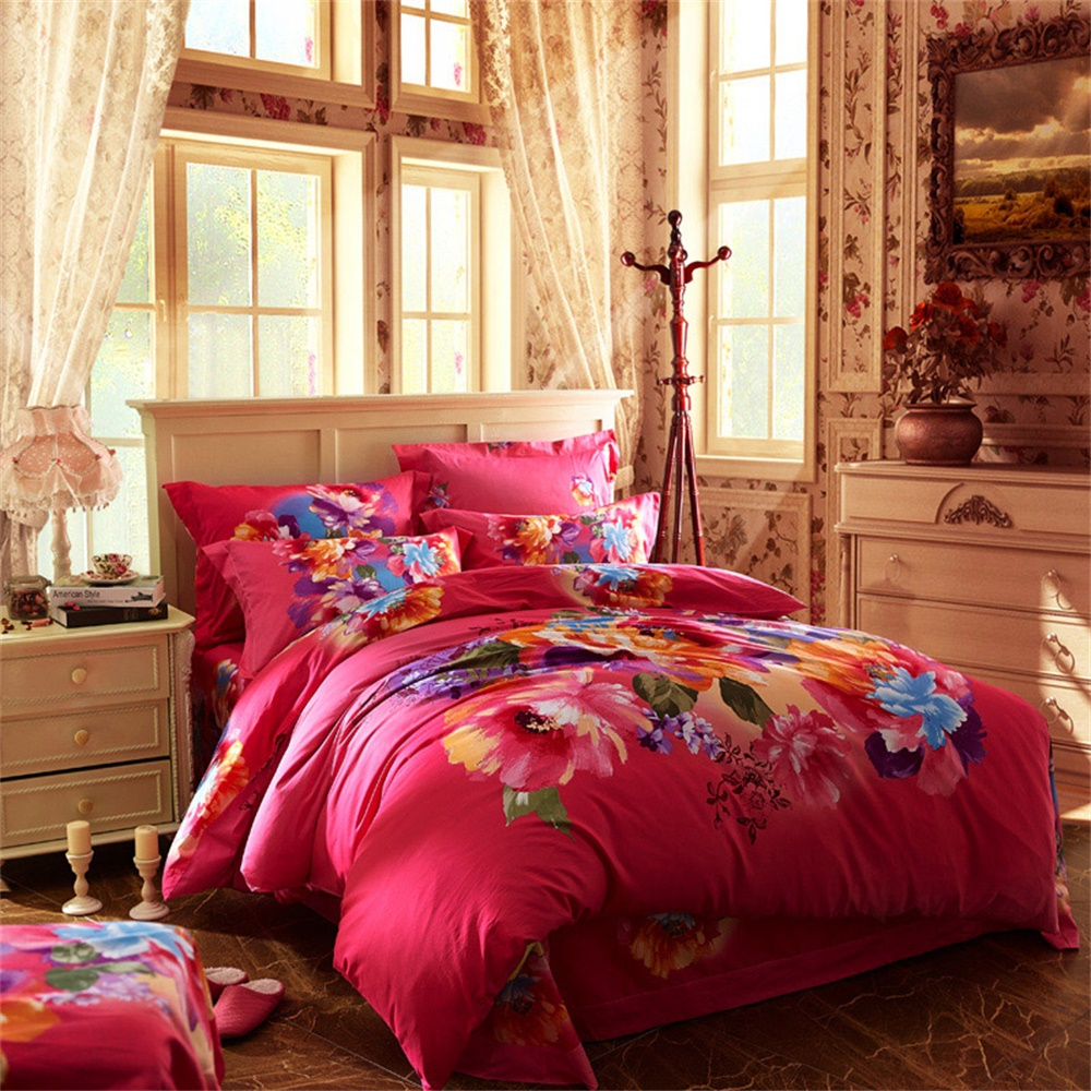 3d Oil Painting Flowers Bedding Set Queen Size King Size