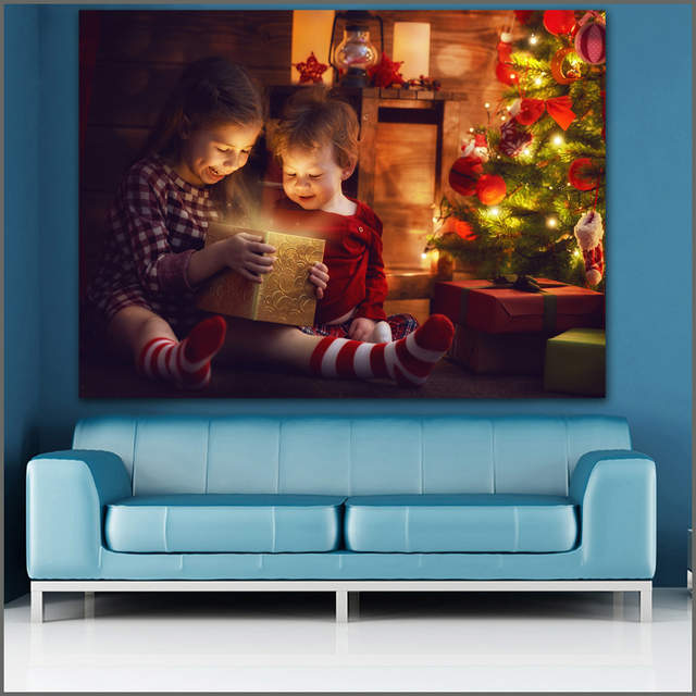 Online Shop Large Size Printing Childs Smile At The Christmas Tree