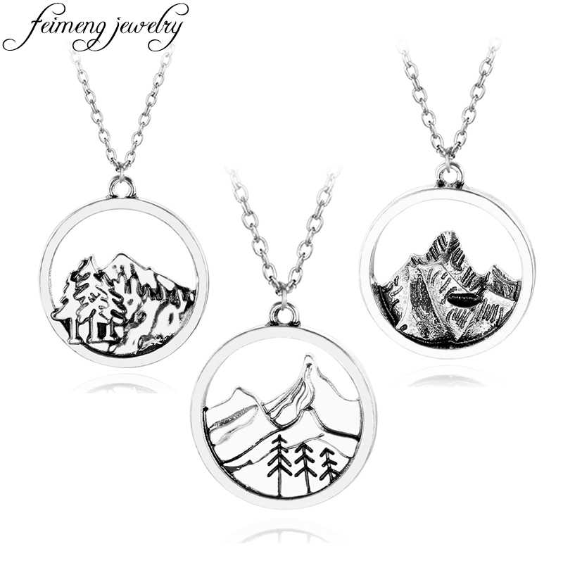 Himalayas Mountain Necklace Lovely Dainty Outdoor Mountain Tree Pendant Snowcap Mountain Necklaces Jewelry For Women Gifts