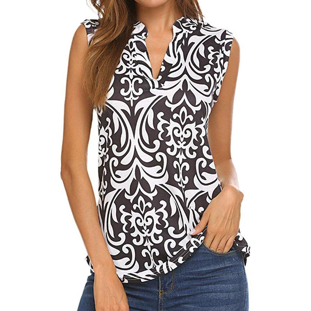 blusas mujer de moda 2019 women's   blouse     shirt   Fashion Women V-Neck Sleeveless Folk-Custom Floral Print Tunic Casual Tank Top