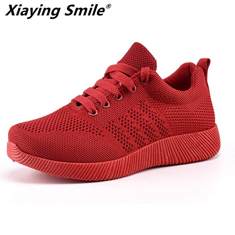 Xiaying sonrisa 2018 nueva tendencia zapatos de mujer Zapatillas de deporte transpirables de malla de aire zapatos Eva Atlético zapatos de las mujeres Zapatos de deporte