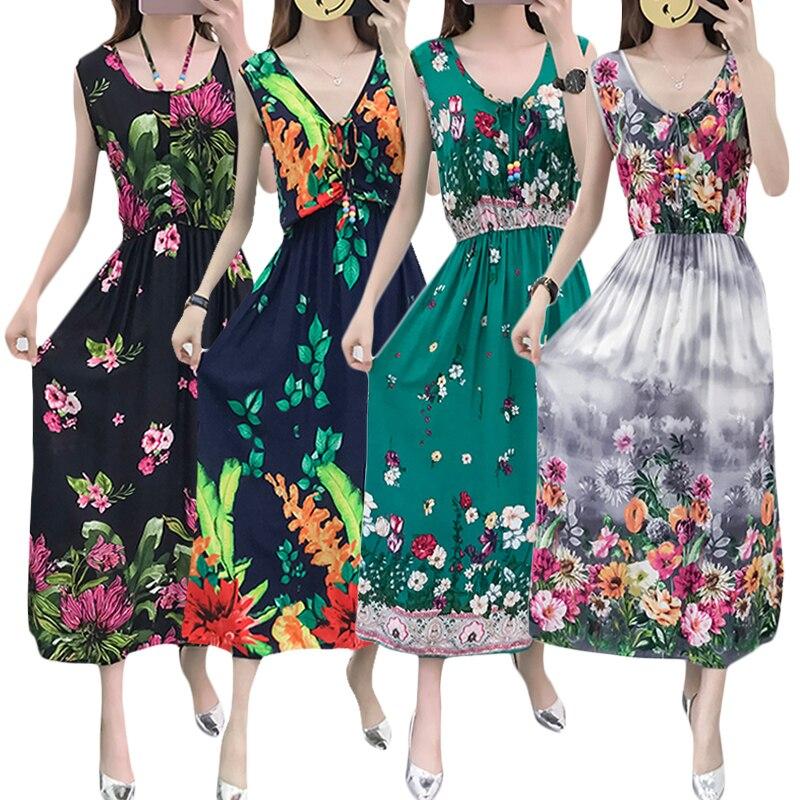 Summer 2019 Vintage Women Bohemian Dress Beach Boho Elegant Printed Dresses Vintage Sleevele Print Floral Party Dresses vestidos