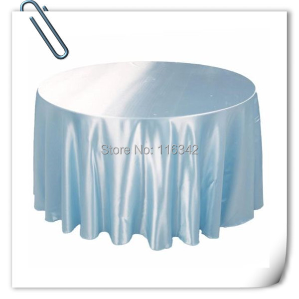 Retail cheap!!! Sky Blue 90inch 10pcs Satin table cloth for weddings parties hotels restaurant Free Shipping