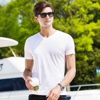 Men short sleeve T shirt 2019 Spring New Casual Tops Tee soft silk basic style Hot Pink Blue White Black 38161