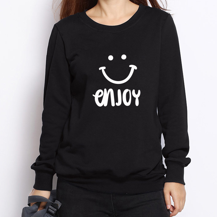 Enjoy Smile Printing Women Hoodies Winter New Fashion Casual Long Sleeve Pullovers Outerwear For Ladies Sweatshirts
