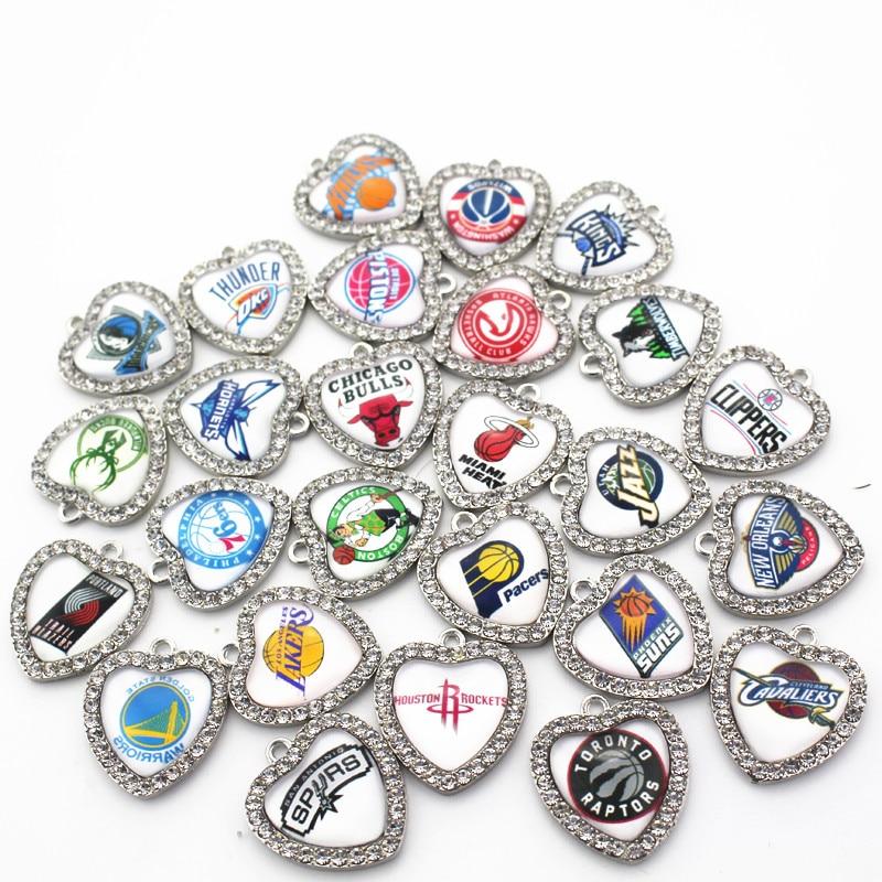 Hot Sale Mixs 30pcs/lot Metal Glsaa Basketbal Team Heart Crystal Dangle Charms Fit Sports Necklace Bracelet DIY Jewelry Making