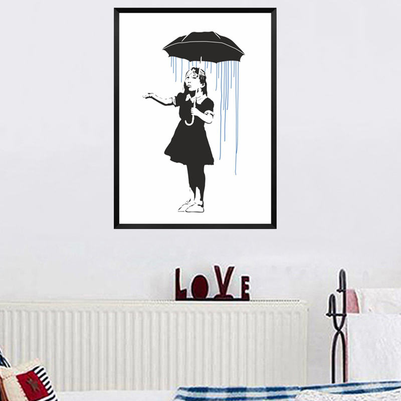 Abstract Umbrella Girl Banksy Canvas Painting Hope Posters