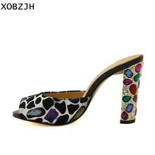 Summer Sandals Women Shoes 2019 Brand Slip On Luxury High heels Mature Ladies Crystal heel Slippers woman