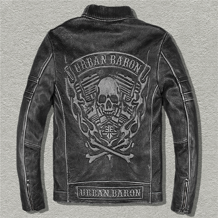 Free shipping,DHL Brand clothing skull cow leather Jackets men genuine Leather vintage jacket.3D quality