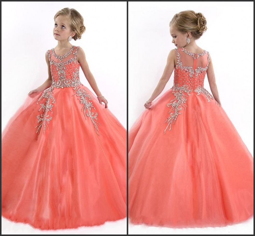 reCheap Cute Princess Beadings Communion   Dress   Zipper Back Orange Ball Gown   Flower     Girl     Dresses   2019   Girls   Pageant   Dresses