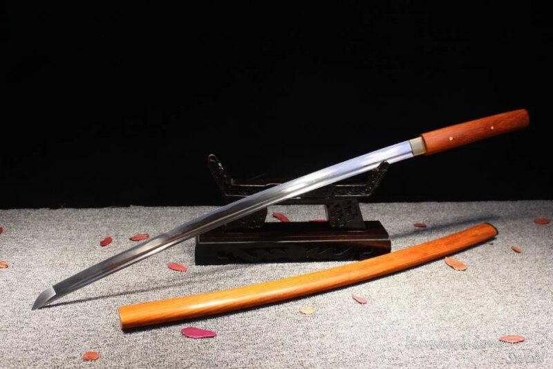 Forgiato a mano 1045 In Acciaio Al Carbonio Samurai Sword Shirasaya Legno di Rosa Fodero Reale Giapponese Katana Nitidezza Pieno Tang Nuova Fornitura-in Spade da Casa e giardino su  Gruppo 3