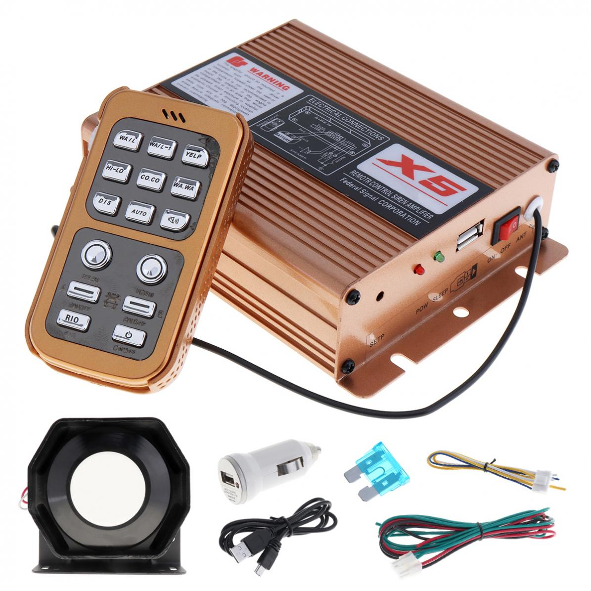 12V 400W 8 Sound Super Loud Auto Car Warning Alarm Police Siren Horn Speaker with MIC