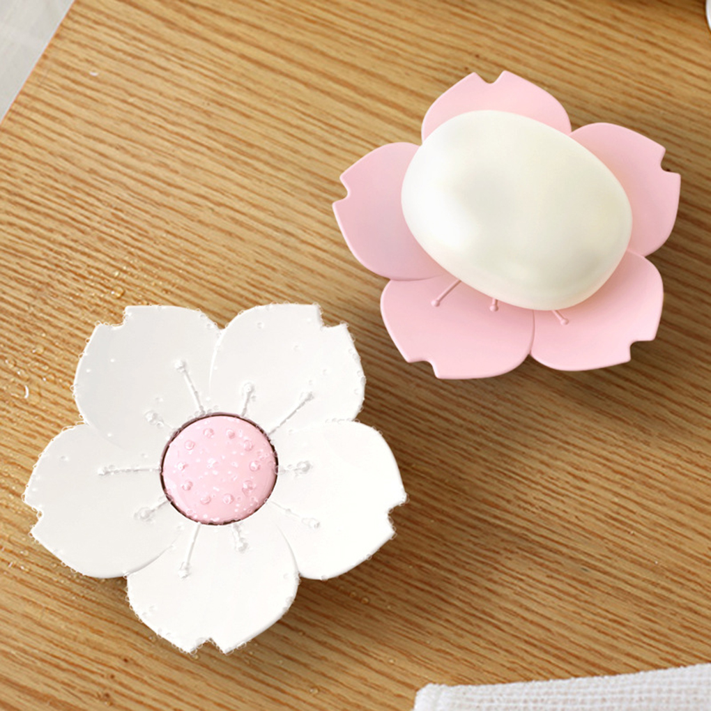 Draining Cherry Blossom Soap Dish Soap Box Plate Flower Cherry Blossom Soap Plastic Box Holder