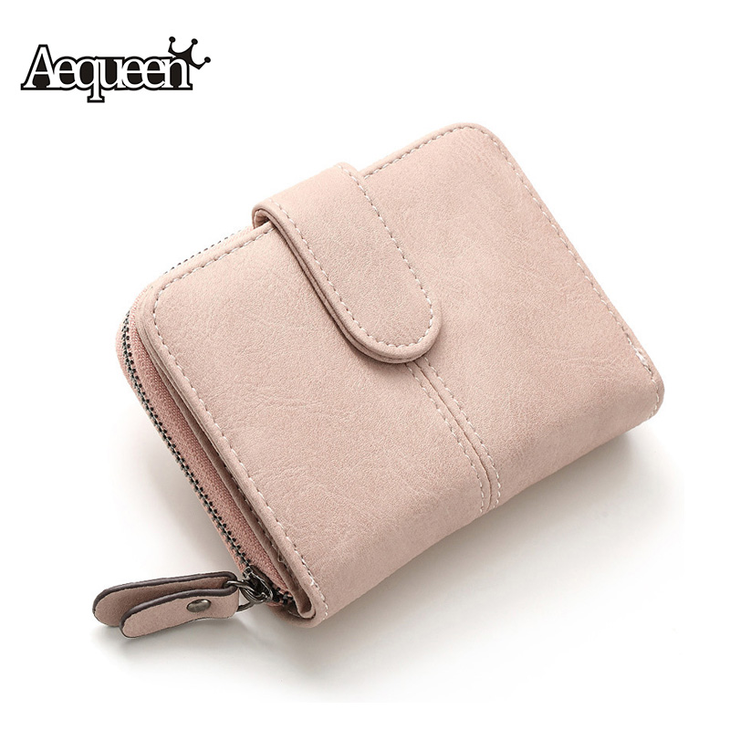 AEQUEEN Nubuck Leather Wallets Women Short Purse Ladies Fashion Small Wallet Coin Purse Female Card Holder Pouch Money Bag fashion pu leather wallet woman short id card holder wallets women purse cute small wallet female brand coin purse money bag