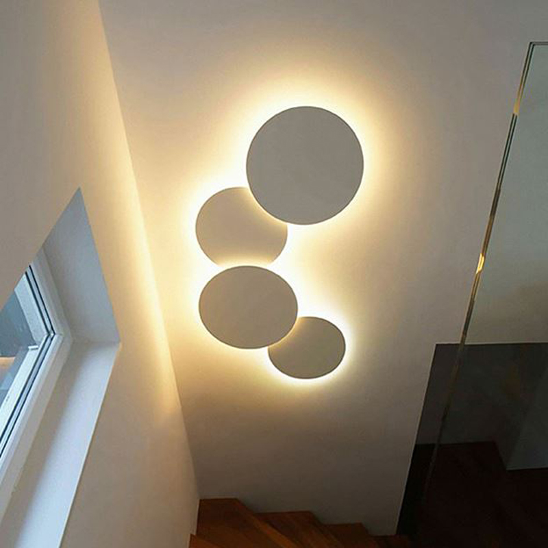 LED Wall Lamp Circular Living Room Wall Light Round Moon Wall lamp Modern Bedroom Lamp Simple Study Light Wood Stair Wall Lamps wall lamp brief circle stair lamp bed lighting fashion led acrylic wall lamps children s room wall lamp