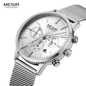Image 2 - MEGIR קלאסי הכרונוגרף קוורץ שעונים לנשים עמיד למים זוהר 24 שעות אנלוגי פלדת שעון יד לאישה ליידי 2011L 7