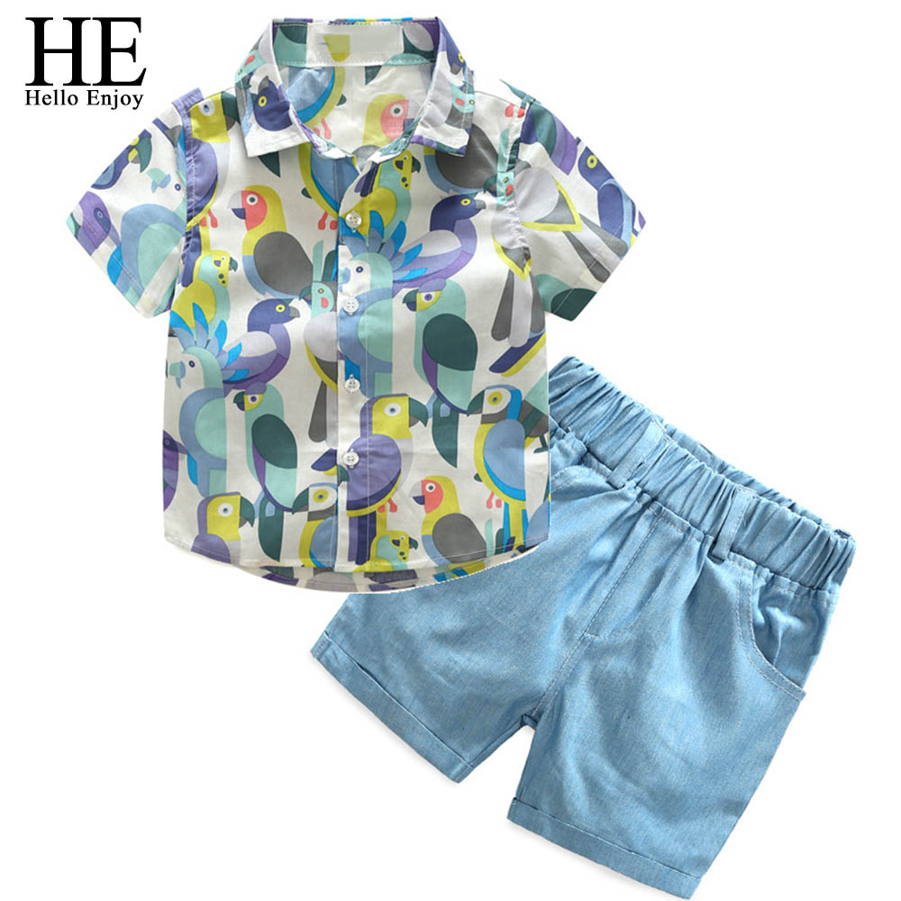 HE Hello Enjoy boys summer clothes children's clothing cartoon kids clothes short sleeve print shirt+shorts suit baby boy outfit